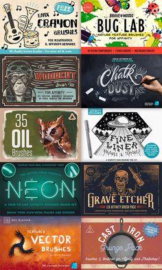 The Best Brushes for Affinity Designer (Free & Premium Packs) Photo Brush, Vector Brush, Vector Art, Wax Crayons, Best Brushes, Affinity Photo, Ink In Water, Adobe Illustrator Tutorials, Graphic Design Tutorials