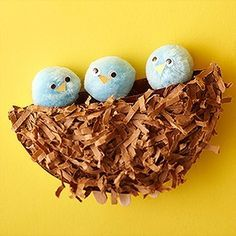 paper plate craft of a bird's nest with big pom poms used for the birds (with beady eyes and construction paper beaks)