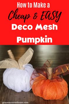 How To Make a Deco Mesh Pumpkin | Easy Fall Craft Idea  #mesh  #homedecor  #falldecor  #pumpkin  #decomesh  #wreaths