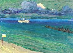 Wassily Kandinsky (1866-1944) Rapallo, Meerelandschaft mit Dampfer