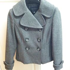 Banana Republic Wool Peacoat BR gray wool peacoat in XS. In good condition--minor thinning around edges of sleeves. Flattering fit and the classic style goes with everything!  No trades. Banana Republic Jackets & Coats Pea Coats