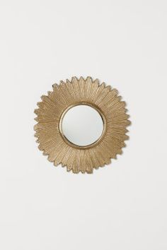 Small, round mirror with a wide, embossed metal frame. Screws not included. Diameter of mirror glass 5 in., diameter of frame 12 1 Small Glass Vases, Mirror Glass, Home Interior Accessories, Cordon En Cuir, Living Room Mirrors, H & M Home, Embroidered Cushions, Green Pattern, Round Mirrors