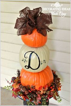Fall Decorating Ideas - Tutorial on making your own pumpkin topiary.