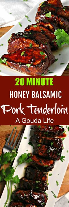 Honey Balsamic Pork Tenderloin ~ tender, juicy, over the top flavor ~ stove to table in just 20 minutes. Ideal for weeknights; elevated for entertaining.