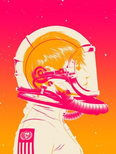 Artwork of side profile of astronaut: ombré background (pink/orange) lets the white and hot pink stand out and create the person