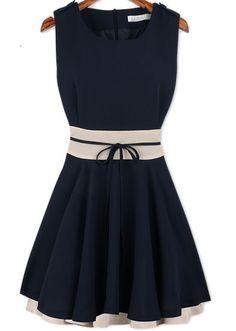 Navy Sleeveless Ruffle Belt Chiffon Dress