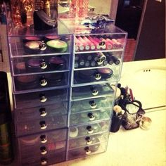 Organizing makeup.