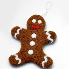 Gingerbread man: from the tale onto your Christmas tree Felt Christmas Ornaments, Christmas Gingerbread, Christmas Crafts, Christmas Time, Winter Party Decorations, Christmas Decorations, Needle Felted Ornaments, Felt Snowman, Craft Show Ideas