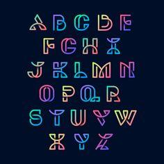 Alphabet vector Vectors, Photos and PSD files Creative Lettering, Graffiti Lettering, Lettering Design, Fonte Alphabet, Alphabet Design, Lettering Tutorial, Letras Cool, Typographie Fonts, Alphabet Symbols