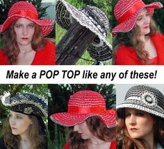 Tabistry POP TOP Domed Hat PDF Tutorial and 4 by mieljolie on Etsy, $14.00