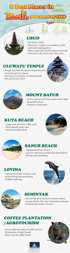 Bali is not called the Island of the Gods for nothing. One of the world's most sought-after vacation spots, Bali truly is a paradise on this side of the earth. #infographic #bali #destination