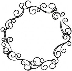 Circle floral borders. Sketch frames, hand-drawn on white