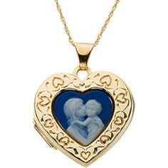 14K Yellow Gold Mother and Child Cameo Locket. $448.50 by BodyCandy