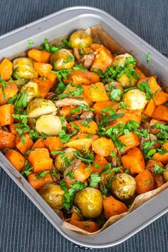oven roasted sweet potatoes with mushrooms and many more other goodies