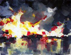 Contemporary modern art panting, abstract landscape art.