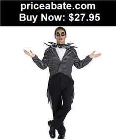 Men-Costumes: NEW Licensed Nightmare Before Christmas DELUXE ADULT JACK SKELLINGTON COSTUME - BUY IT NOW ONLY $27.95