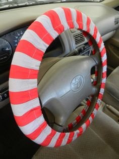 Red/Gray Stripe Steering Wheel Cover Riley by EmbellishMePattyV, $18.00