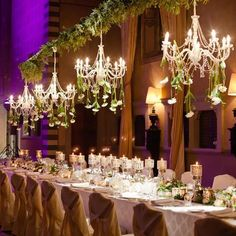 Luxury wedding reception with greenery decor; Featured Photographer: Paula Andrea Photography