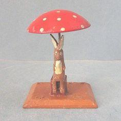 Vintage Germany Easter Rabbit Under Mushroom Putz Holiday Wood Figure | eBay