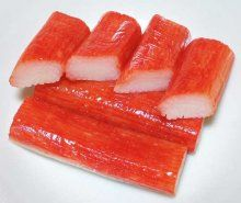 """What is imitation crab meat? Well imitation crab is made from surimi, which is finely pulverized fish flesh, this fish """"paste"""" is then flavored and formed to resemble snow crab legs with red food dye added to give the sticks a more realistic look. Creamy Fruit Salads, Fruit Salad Recipes, Chop Suey, Surimi Sushi, Imitation Crab Recipes, Surimi Recipes, Sushi Menu, Crab Stick, Fish Sticks"""
