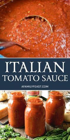 An authentic and delicious Italian Tomato Sauce that has been passed down through generations. So good, it's sure to become your family's go-to sauce recipe! # pasta sauce recipes The Best Italian Tomato Sauce - A Family Feast® Best Italian Recipes, Authentic Italian Recipes, Authentic Italian Tomato Sauce Recipe, Italian Red Sauce Recipe, Italian Tomato Pasta Sauce, Best Tomato Sauce Recipe, Best Marinara Sauce, Italian Spaghetti Sauce, Canning Recipes