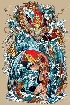 Japanese water dragon a traditional mythological deity creature in the sea or river splashes tattoo style vector illustration affiliate mythological deity creature traditional japanese 40 powerful traditional japanese tattoo designs style asians Japanese Artwork, Japanese Tattoo Art, Dragon Tattoo Sketch, Koi Dragon Tattoo, Koi Kunst, Engel Tattoo, Samurai Artwork, Koi Art, Water Dragon