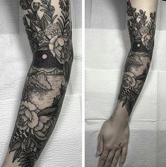Makes me reconsider whether I'd ever actually get a tattoo sleeve. Makes me reconsider whether I'd ever actually get a tattoo sleeve. Tattoo Fairy, Hawaiianisches Tattoo, Tattoo Hals, Piercing Tattoo, Get A Tattoo, Piercings, Tattoo Fonts, Arm Sleeve Tattoos, Tattoos Skull