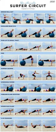 """""""HOW TO GET A SURFER'S BODY!"""" You do not need to surf to get the results from this fun workout circuit. Created by Celebrity Trainer – Monica Nelson. www.monicanelsonf…"""