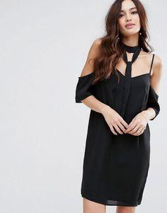 Fashion Union Cold Shoulder Dress With Choker Detail - Black
