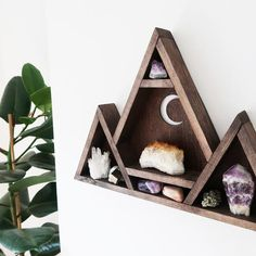 Items similar to Geometric Mountain Shelf, Triangle shelf, Rustic Shelves - Crescent Moon on Etsy