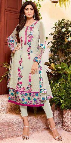 Designing Grey And Pink Georgette Salwar Suit.