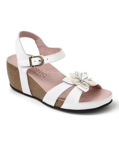 This White Gibraltar Leather Sandal by Vionic with Orthaheel Technology is perfect! #zulilyfinds