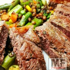 Grilled steak with mixed veggies. For recipe follow our Instagram page @mffoodies