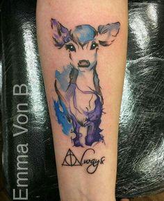 Lily's doe patronus - Emma Von B, Hello Sailor Tattoo Studio, Blackpool UK Mehr Trendy Tattoos, Cute Tattoos, Body Art Tattoos, New Tattoos, Small Tattoos, Sleeve Tattoos, Tatoos, Ankle Tattoos, Arrow Tattoos