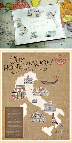 "a cute new way to document, or ""scrapbook"" your honeymoon or how you met by turning it into a ""map"" that you can show off or gift to someone else."