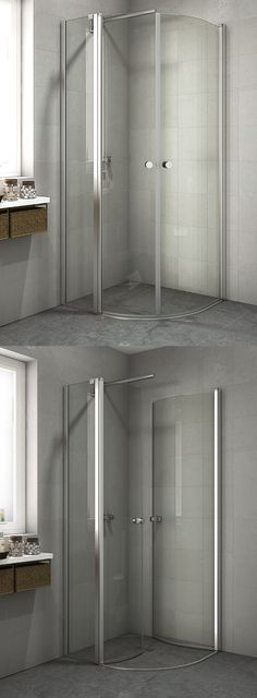 Smart version of a quadrant enslocure. The in-line panel enables you to furnish right up close to the shower enclosure.