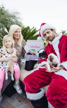 Tori Spelling from Celebrity Do-Gooders: Holiday Edition!  The reality star receives FabFitFun's VIP winter box hand-delivered by sexy santas and ASPCA rescues to kick off FabFitFun's holiday partnership with the ASPCA.