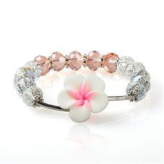 Fashionable Glass Bracelets, With Polymer Clay Plumeria Beads, Iron Tube Beads And Alloy Findings, White, 52mm-- Jewelish.com
