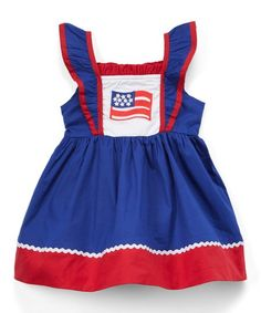dc0552a1342 Lil Cactus Dark Blue   Red USA Flag Ruffle A-Line Dress - Infant   Toddler