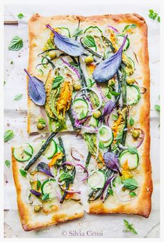 Focaccia with Zucchini Flowers, Green Beans, Red Onions, Greek Basil & Mint