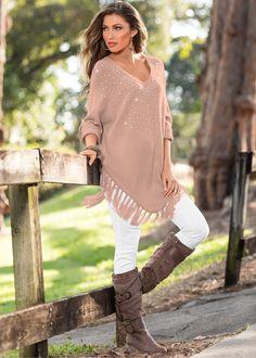 Suéter rosa antigo encomendar agora na loja on-line bonprix.de  R$ 149,00 a partir de Lindo suéter com aplicações em strass e franjas na barra. Combine com ...