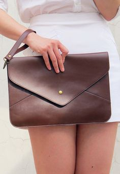 Oversize Vegan Leather Envelope Clutch - Coffee Dark Brown Purse Bag Handbag - Women Ladies - Handmade
