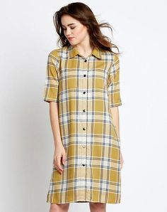 Buy Online Designer Shirt Dresses Online Mustard Check Printed Shirt Dress in India At Best Prices. Latest Fashion Trends Cotton Dresses, Shirt Dresses, Check Dresses, Denim Dresses & T Shirt Dresses Check Dress, Check Printing, Shirtdress, Dress Online, Cotton Dresses, Latest Fashion Trends, Mustard, Short Sleeve Dresses, Printed