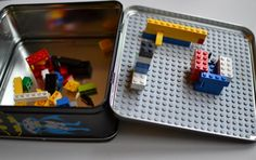 Handmade Gifts for Boys: lego lunchboxes [for on-the-go building!] : It probably won't surprise you when I say that my boys love LEGOs. And I'm a big fan of anything that keeps them occupied for hours! With holiday road trips on the horizon, I came up wi… Homemade Gifts, Diy Gifts, Diy For Kids, Crafts For Kids, Make School, School Lunch, Inexpensive Gift, Gifts For Boys, Legos