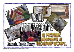 Picture writing prompts are a great way to spark students' creativity.This is a discounted bundle of;Visual Writing Prompts (Animals)Visual Writing Prompts (People)Visual Writing Prompts (Funny)See the individual products for more complete preview.This set includes twenty animal pictures, twenty pictures of people in various settings and twenty pictures of funny situations (four per A4 sheet) that can be printed, cut and laminated for use in your writing workshop or in a center.There are two…