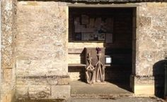 A couple of strange carvings below the notice board at Notgrove Cotswolds Tour, Cotswold Villages, London Guide, Tourism, Cottage, Carving, Gallery, Board, Couple