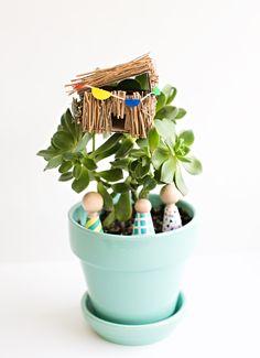 DIY SUCCULENT PLANT MINI TREE HOUSE KIDS CAN MAKE