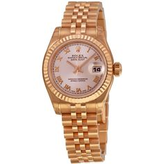 Rolex Lady Datejust Automatic White Dial 18kt Pink Gold Watch ($21,443) ❤ liked on Polyvore featuring jewelry, watches, crown bracelet, roman numeral watches, rolex watches, 18k rose gold bracelet and 18k bracelet