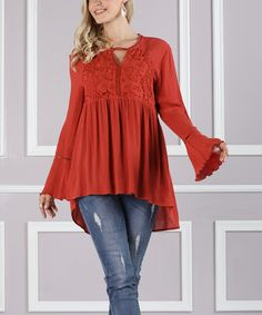 Another great find on #zulily! Rust Lace Empire-Waist Tunic - Plus Too #zulilyfinds