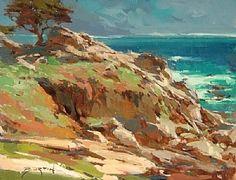 Looking Back at Carmel by John Burton Oil ~ 11 x 14